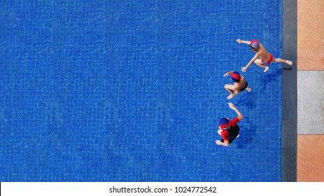 Two little boys and girl fun jumping into the swimming pool, Summer holidays and vacation concept, Top view