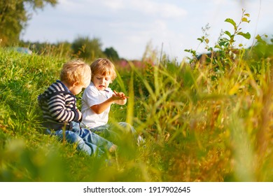 Two little brother boys playing near forest lake on summer evening. Cute siblings, toddlers and children playing together. Family on weekend or vacations.
