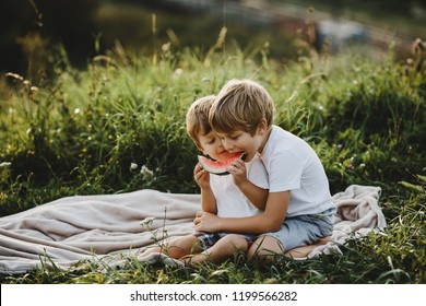 Two little brothers have fun lying on a green field in the rays of evening sun