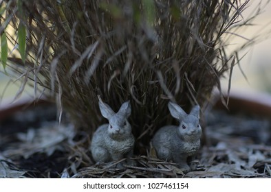 two little decorative young rabbits in front of grass waiting for easter holiday traditional season decoration
