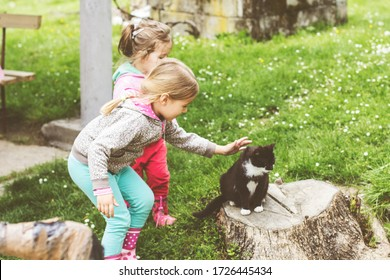 Two little girl playing with domestic cat in backyard .