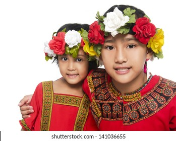 Two little girl in traditional dress-closeup