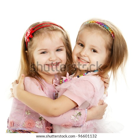 Two Little Girls Best Friends Isolated Over White
