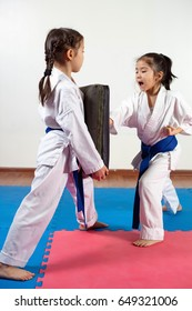 Two little girls demonstrate martial arts working together. Fighting position, active lifestyle, practicing fighting techniques
