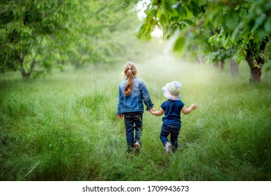 Two little girls in jeans clothes holding hands are going through green summer/spring garden. Family time, summer mood. Green grass and leaves, fresh air walking. Soft light bokeh. Lonely children.