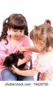 Two little girls play and hold small kitten on a white background