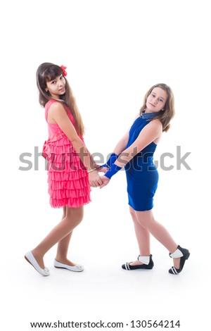 Little girls in handcuffs