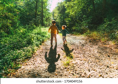 Two little kids brothers walking in forest in sunset sunlight. Happy together, best friends, pals forever. Friendship and trust concept.