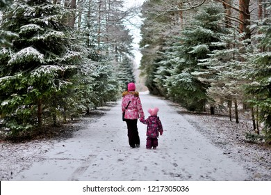 Are two little sisters on a walk in the woods on a winter snowy day.