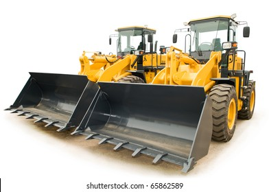 Two Loaders excavators construction machinery equipment isolated