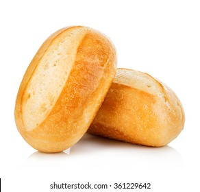Two loaves of fresh homemade bread close-up isolated on a white background.