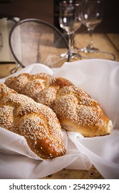 Two loaves of seeded challah for Shabbat