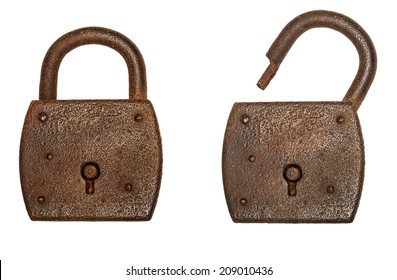 Two locks, locked and unlocked, isolated on a white background