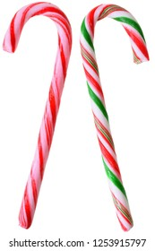 Two lollipops walking stick closeup isolated on white background.