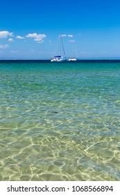 Two lonely yachts in Black Sea King's Beach - near Sozopol, Bulgaria