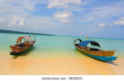 two longtail boat on andaman beach