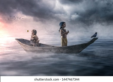 Two lost children in fear drifting on a boat in the ocean
