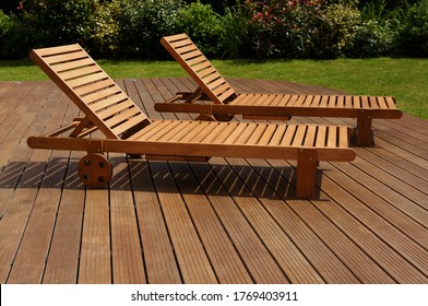 two lounge chair on an exotic wood terrace