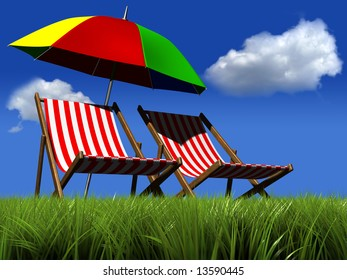 Two lounge chairs and an umbrella in grass - rendered in 3d
