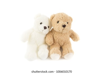 Two lover of white and brown fluffy cute romantic teddy bear cuddle together with white background.