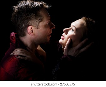 Two lovers on a black background