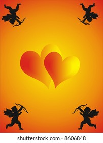 Two Loving Hearts and Cupid - vector