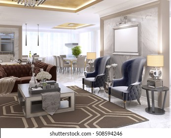 Two luxurious armchairs in the style of art Deco with a coffee table and the picture illuminated on the wall. Two bedside tables with large lamps. 3D render.