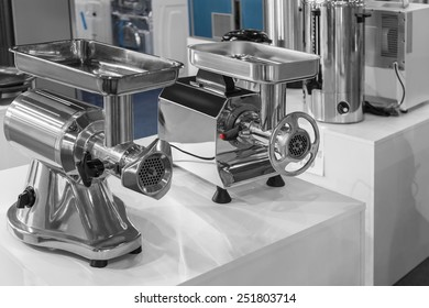 Two machine for mincing meat, presentation equipment