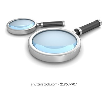 Two Magnifying Glasses On White Background. 3d Render Illustration
