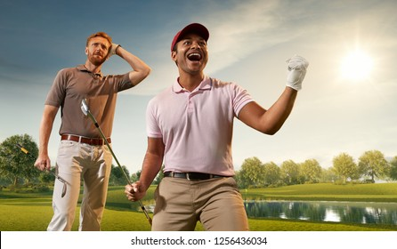 Two male golf players on professional golf course. Happy player emotionally rejoices victory. Opponent sad about losing