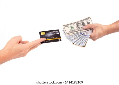 two male hands holding credit card and a giving dollars to exchange , business digital payment concept