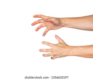 Two male hands reaching out angrily to grab something, white background, room for copy space