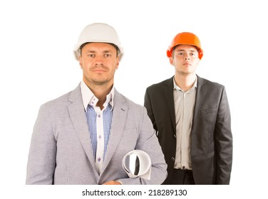 Two Male Middle Age Engineers in Half Body Portrait Isolated on White Background.