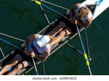 Two Male Rowers In A Double Racing Boat
