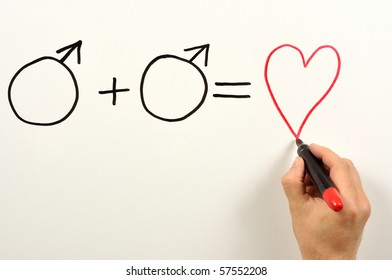 Two male symbols and heart shape used in a formula