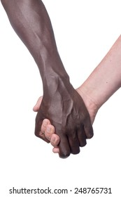 two males of different races holding hands