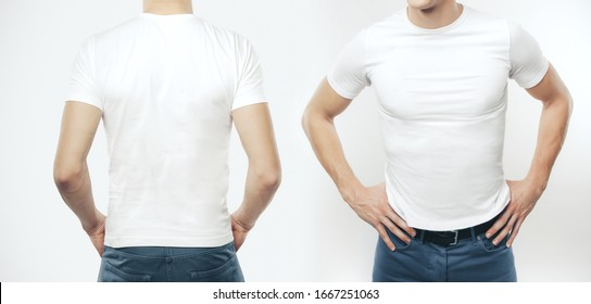 Two man in blank T-shirt on a white background. Clothing and fashion concept