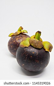 two mangosteen close up