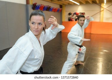 two martial arts fighters practicing combat sport