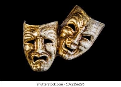 two mask smile and sadness on a black background