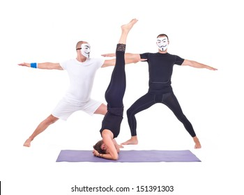 two people doing yoga poses