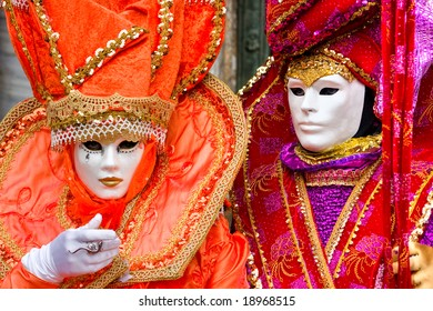 Two  masks in Venice, Italy.