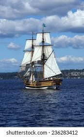 Two masted tall ship sails on Lake Washington