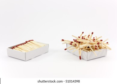 Two matchboxes, the one on the left looks tidy and the matches fit nicely inside, the one on the right looks chaotic and the matches don't fit.