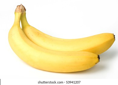 Two mature bananas, on white background. With clipping path.