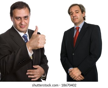 two mature business men isolated on white