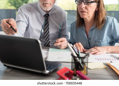 Two mature business people working together in office