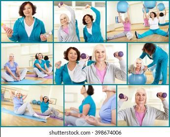 Two mature women exercising at gym