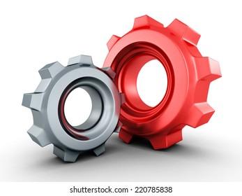 two mechanical cogwheel gears on white background. 3d render illustration