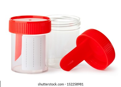 Two medical containers for biomaterial. Isolated on a white.